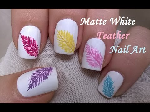 Matte White Nails Design / How To: Easy FEATHER Nail Art