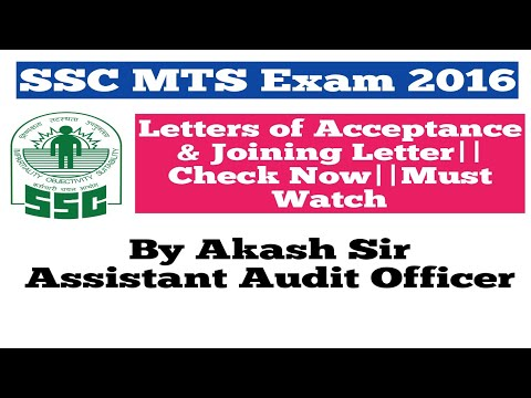 SSC MTS 2016||Letters of Acceptance & Joining Letter||In Hindi
