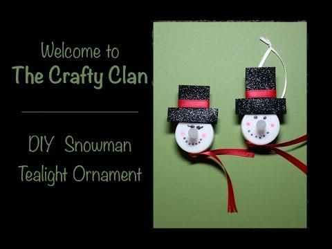 DIY Tealight Snowman Ornament