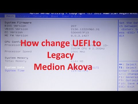 Medion akoya how to change BIOS mode from UEFI to Legacy