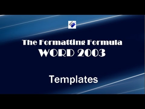 Word 2003   Templates-Learn how to create a template from a document.