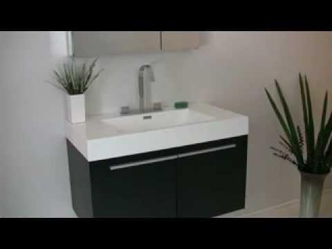 Fresca Vista Black Wall Mounted Bathroom Vanity w/ Medicine Cabinet & Faucet