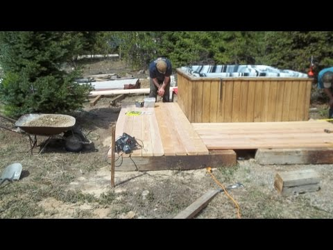 Time to build a Hot tub deck with snow roof part # 1