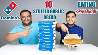DOMINO'S STUFFED GARLIC BREAD EATING CHALLENGE | Cheesy Bread Eating Competition | Food Challenge