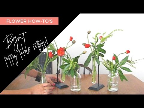 DIY Bud Vase Poppy Centerpiece