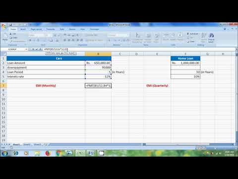 Excel 2007: how to calculate EMI using PMT function in excel
