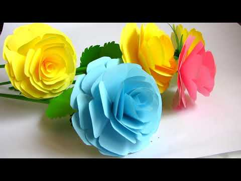 How to Make Realistic Paper Rose | Making Paper Flowers Step by Step | DIY-Paper Crafts
