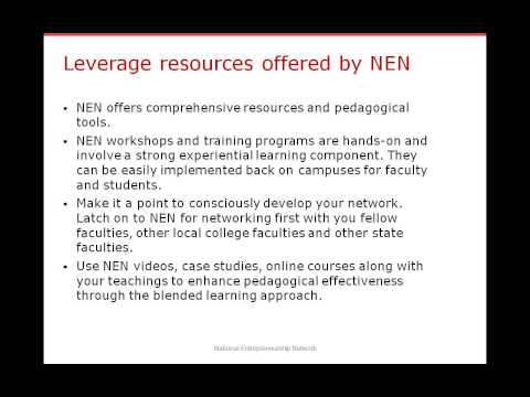 NEN Faculty Webinar on Inculcating an Entrepreneurial Mindset