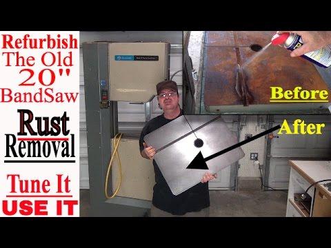 BandSaw Refurbish job, Remove Rust - Tune it & Use it Part 3 *New Vintage 20