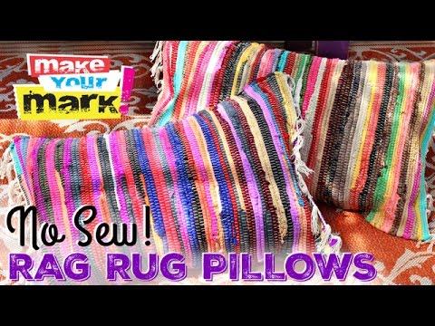 NO SEW! Easy Rag Rug Pillows