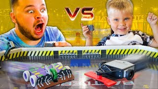 FATHER VS. SON BATTLEBOTS ARENA! - Hexbug BattleBots Toys!