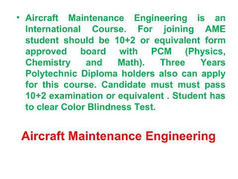 Aircraft maintenance engineering streams and college in India