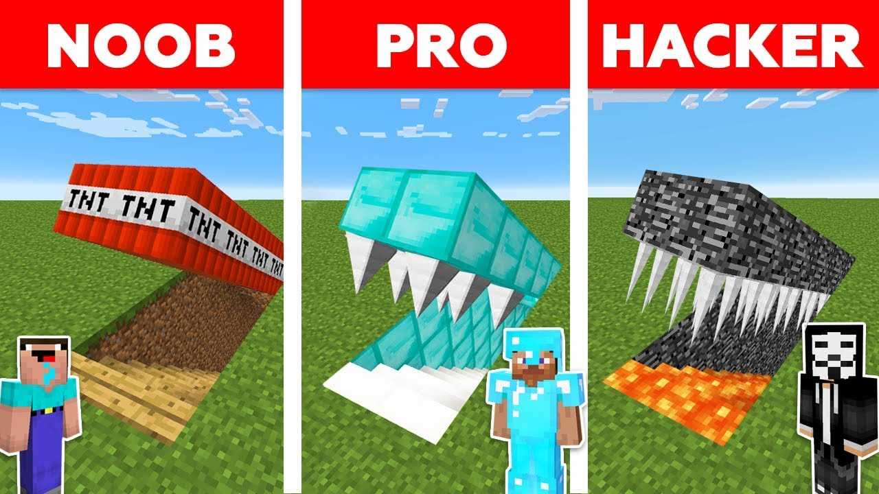 Minecraft NOOB vs PRO vs HACKER : HIDDEN TRAP CHALLENGE in minecraft / Animation