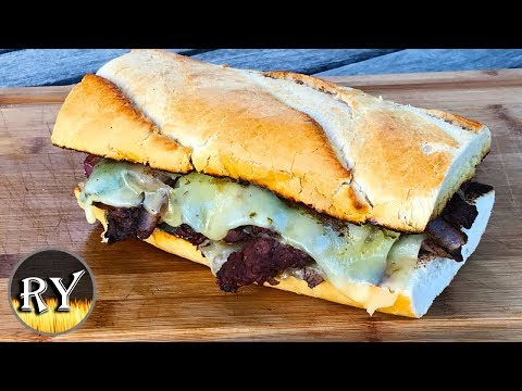 Southwestern 'Philly' Cheesesteak Sandwich Grilled On The Weber Kettle
