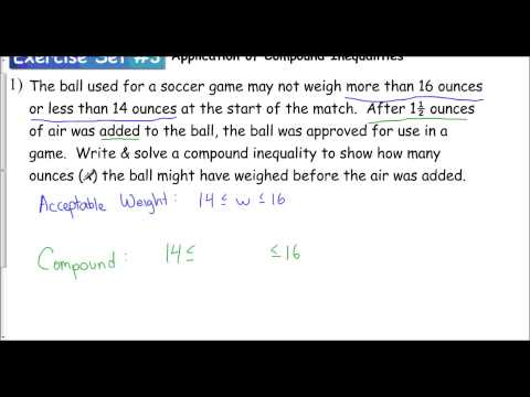 Lesson 1.3 - Application of Compound Inequalities (Exercise Set #3)