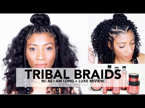 Tribal Braids on Natural Hair Tutorial & GIVEAWAY w/ NEW Long & Luxe by As I Am