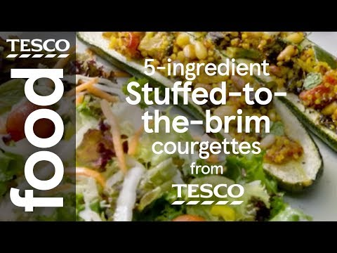 5-ingredient vegan grain-stuffed courgettes | Tesco Food