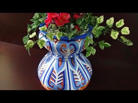 How To Make A Colored Flower Pot With Simple Clay Bowls |
