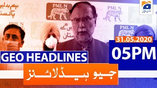 Geo Headlines 05 PM | 31st May 2020