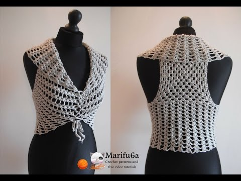 How to crochet vest bolero shrug, Chaleco, for beginners para principiantes free tutorial