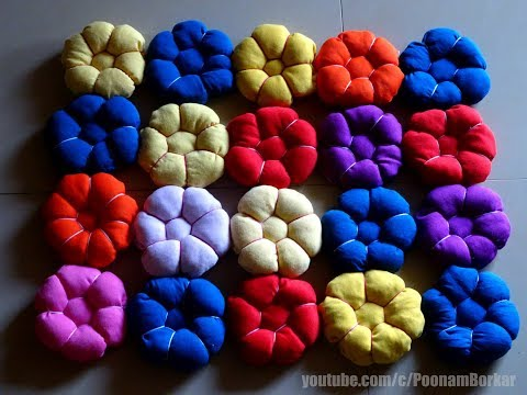 DIY - Beautiful door mat from old clothes | Floor mat with puff flowers | Recycling old t-shirts