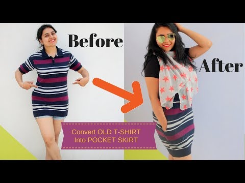 DIY: Convert old T-shirts into Pocket Skirt | How to Sew a Pocket Skirt (Transformation)