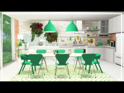 SIMS 4 KITCHEN DESIGN 🍏 Greenery 🍏 Room Build