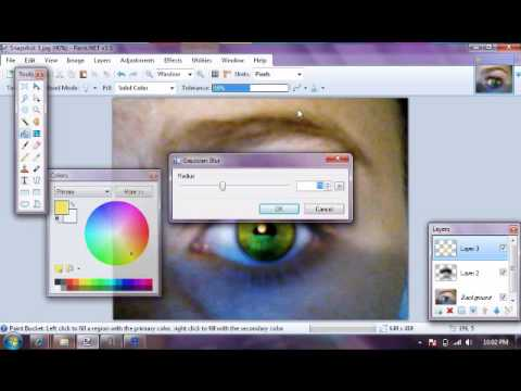 How to change eye colour in paint.net