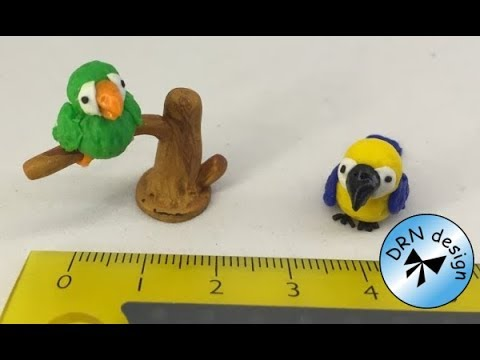 Polymer Clay Miniature 1 to 12 - Parrots