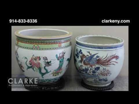 Post Auction | Porcelain Fish Bowl Lot | Chinese Fish Bowl | Asian | Clarke Auction Gallery