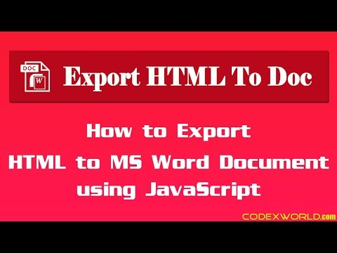 Export HTML to MS Word Document using JavaScript