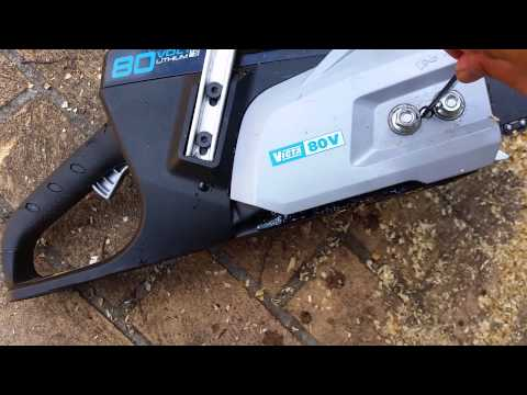 how to adjust chainsaw blade on Victa 80v chainsaw