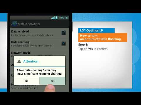 How to turn on or turn off Data Roaming in LG® Optimus L9