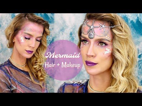 Mermaid Hair + Makeup | Halloween Costume Tutorial
