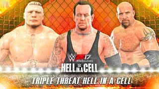 WWE 2K17 HIAC Undertaker vs Brock Lesnar vs Goldberg | Hell In A Cell PS4 Gameplay Match