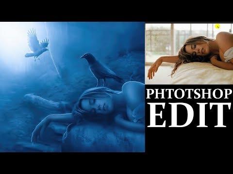 Dark night    Girl    Craws    photo manipulation    Tutorial