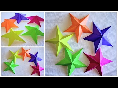 Origami Paper Star Tutorial | DIY 3D 5 Pointed Star Cutouts | Art and Craft