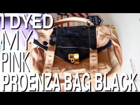 I DYED MY PINK SUEDE PROENZA BAG BLACK!!! DIY SUEDE BAG RE-DYE
