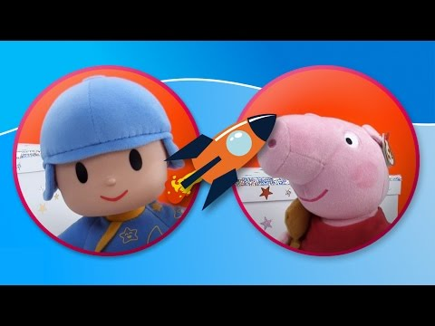 Pocoyo and Peppa Pig play with Fisher Price's Baby's First Blocks