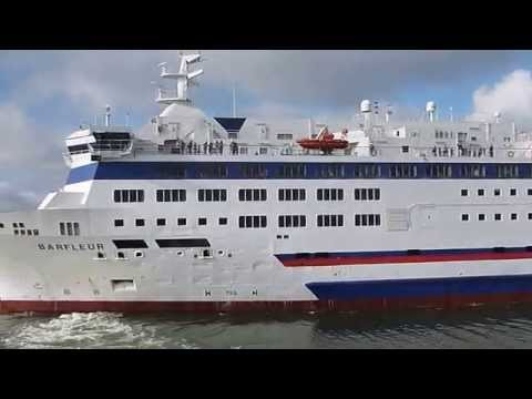 Brittany ferries Barfluer departing Poole harbour seen from Condor Express