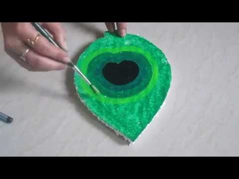 DIY peacock feather Thermocol art  - how to make therm