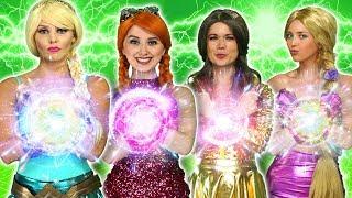 DISNEY PRINCESS MAGIC SUPERPOWERS. (Rapunzel, Elsa, Belle, Tiana, Anna vs Maleficent and Gaston)
