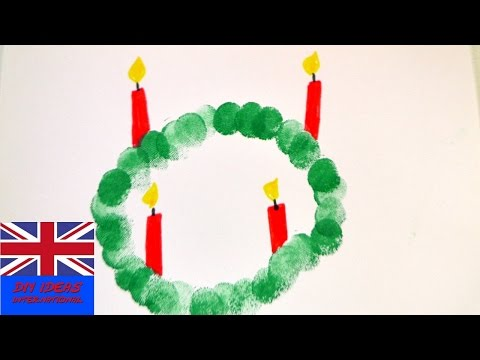 Advent Wreath from Finger Prints – DIY idea for adult and child – Festive Decoration Christmas Decor