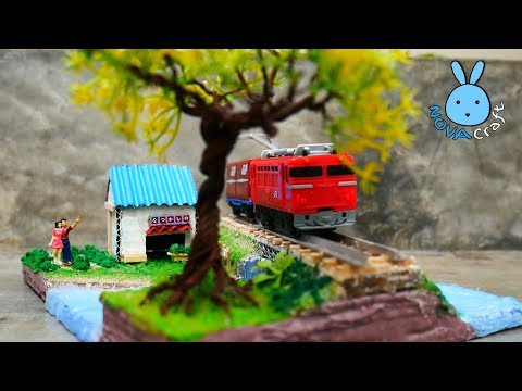 Train Railway river side and mini House Tutorial | Miniature Diorama from Cardboard & Hot Glue