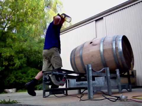 How to cut a Wine Barrel in half with a home made machine by Steve Neal