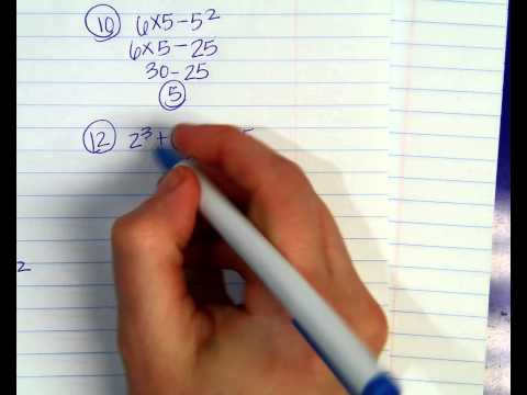 Order of Operations Test EVENS