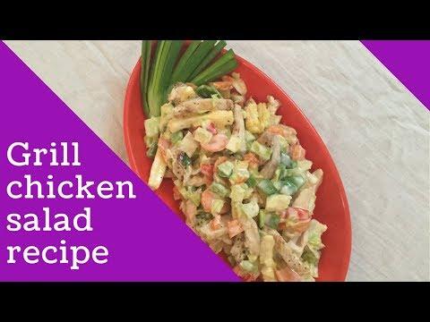 Grill chicken salad recipe at home in hindi   Subway Recipe   Protein Recipe   English subtitles