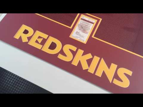 Framing a signed NFL Kirk Cousins Jersey with Redskins Font and Official NFL colors