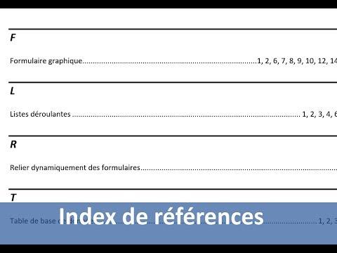 Création d'un index automatique avec Word