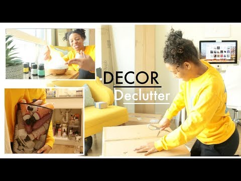 NEW APARTMENT DECOR HAUL // DECLUTTER MY HAIR PRODUCTS WITH ME